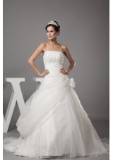 Hand Made Flowers Strapless Court Train Wedding Dress