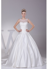 Lace A-Line Scoop Court Train Wedding Dress