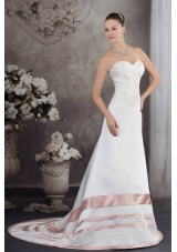 Sweetheart Brush Train Satin Appliques A-line Wedding Dress