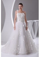 Appliques and Lace A-Line One Shoulder Court Train Wedding Dress