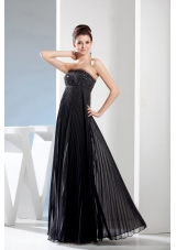 Beading long Black Strapless Empire Prom Dress With Natural Waist