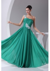 One Shoulder Turquoise Appliques Empire Long Prom Dress