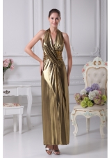 Halter Top Gold Beading Ankle-length Prom Dress