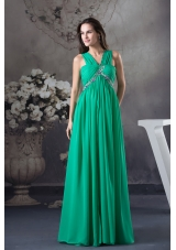 Clearance Beading and Ruching Empire Green long V-neck Prom Dress