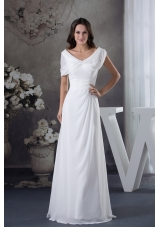 Cheap White Ruching Empire long Prom Dress with V-neck