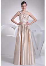 Straps Beading Satin Champagne Prom Dress