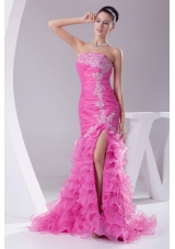 Mermaid Rose Pink Appliques Ruching Ruffled Layers Prom Dress