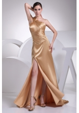 One Shoulder High Slit Brush Train Gold Prom Dress