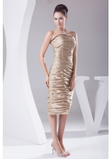 Champagne Knee-length Ruching Beading Prom Dress
