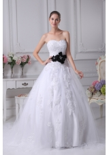 Appliques Sweetheart Court Train A-Line Wedding Dress