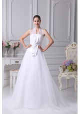 Beading Court Train Halter A-Line Wedding Dress with Fitted Waist