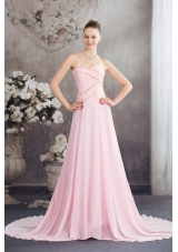 Sweetheart Baby Pink Empire Court Train Prom Dress