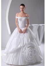 A-Line Beading Off The Shoulder Court Train 2013 Wedding Dress