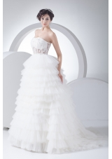 A-Line Strapless Court Train Ruffles Layered 2013 Wedding Dress