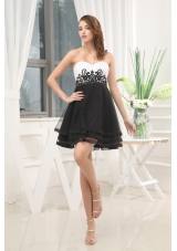 Appliques Black and White A-Line Sweetheart Prom Dress