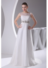 Bateau A-line Beading Brush Train Wedding Dress