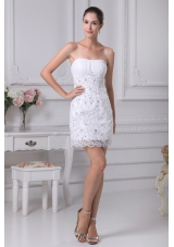 Mini-length Lace Strapless Column Wedding Dress