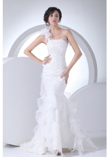 One Shoulder Ruffles Mermaid Appliques Wedding Dress