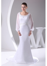 Scoop Long Sleeves Beading Brush Train Wedding Dress
