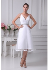 V-neck Knee-length Beading A-line Wedding Dress