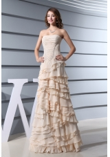 A-Line Strapless Ruffled Layers long 2013 Prom Dress in Champagne
