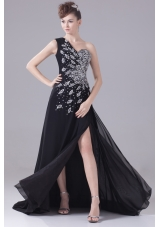 Beading One Shoulder High Slit Black Prom Dress