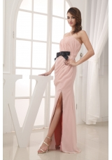 Champagne Empire Belt and Ruching Strapless long 2013 Prom Dress