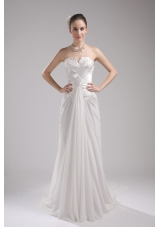 Column Strapless Ruching Chiffon Wedding Dress