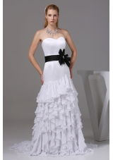 Column Sweetheart Sash Ruffles Wedding Dress