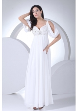 Empire Half Sleeves Straps Beading Wedding Dress