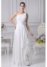 Empire One Shoulder Ruching Beading Wedding Dress