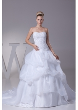 Lace and Pick Up Strapless Court Train A-Line Wedding Dress