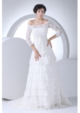 Lace Column Off The Shoulder Court Train Wedding Dress