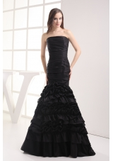 Mermaid Strapless Black Ruching Taffeta Prom Dress