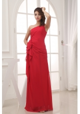 Red Column One Shoulder long Chiffon 2013 Prom Dress