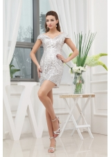 Sequin Mini-length V-neck Cap Sleeves Prom Dress