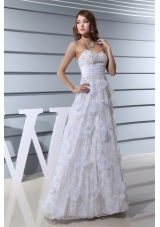 White Beading Sweetheart Hand Made Flowers Prom Dress