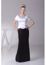 Beading Scoop Column Short Sleeves Mother of the Bride Dress
