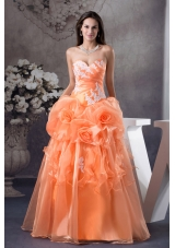 Hand Made Flowers With Appliques Sweetheart A-line Sweet 16 dress