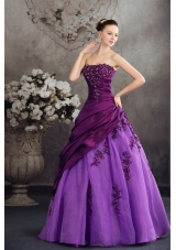 Purple Strapless Quanceanera Dress with Appliques Ball Gown