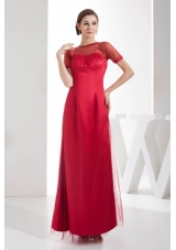 Scoop Sequins Red Mother of the Bride Dresses Short Sleeves