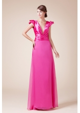Exquisite V-neck Column / Sheath Long Prom Dress With Cap Sleeves