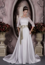 Modest Bateau Court Train Satin Sash and Appliques Wedding Dress