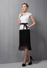 Black and White Square Lace and Chiffon Groom Mother Outfits