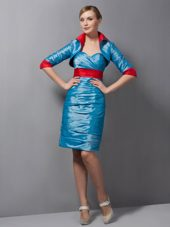 Teal Sweetheart Mother Of The Bride Dress with Ruche and Belt