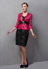 Black and Red Column Sweetheart Belt Mother Of The Bride Dress