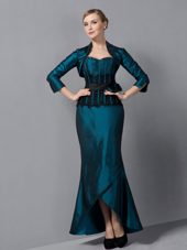 Turquoise Mermaid Sweetheart Mother Of The Bride Dress with Sash