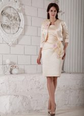 Strapless Ruched Champagne Mother of the Bride Dress