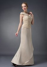 Champagne V-neck Beaded Mother of Bride Dress