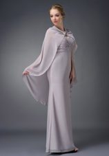 V-neck Ruched Mother of The Bride Dress in Grey